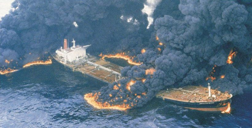 August 1983 Castillo De Bellver Explodes Off The Coast Of